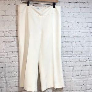 WHBM White Wide-leg Crop Pant 12 EUC